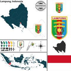 Map of Lampung, Indonesia