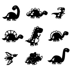 cute fun dinosaur set paper cut