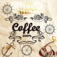 Coffee background on a old paper texture with map and coffee mil