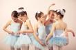 Leinwanddruck Bild - Group of five little ballerinas preparing for performance