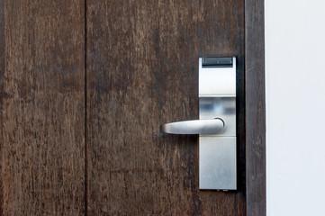 Electric lock on a wooden door