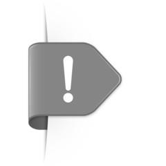 Exclamation sign - Grauer Sticker Pfeil mit Schatten