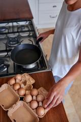 woman breakfast eggs
