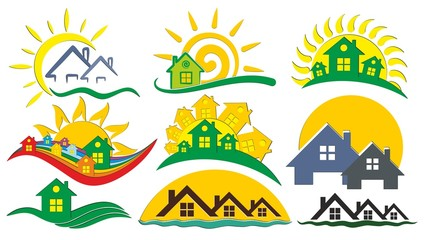 Set of logos of the cottage settlement,