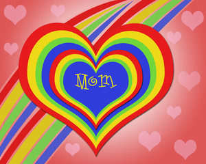 Rainbow love heart for mom