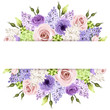 Background with pink, purple and white roses and lilac flowers. - 82109403