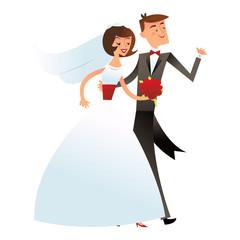 Retro Mid Century Modern Happy Wedding Couple