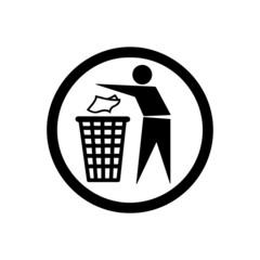 People with trash sign