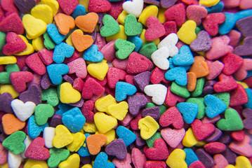 Macro of Sugar Hearts powder background