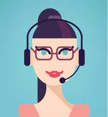Vector portrait of happy smiling cheerful support phone operator
