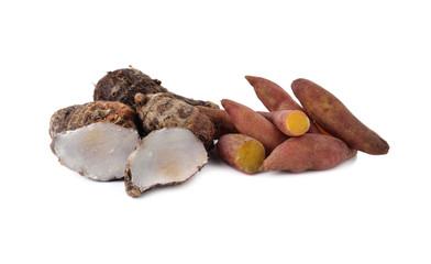 boiled sweet tiny potato and taro on white background