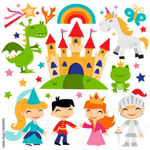 Zdjęcia na płótnie, fototapety, obrazy : Retro Magical Fairytale Kingdom Set