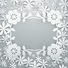 Paper Cut Flowers Cluster 3D Layer Frame