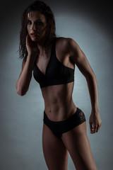 Seductive Gym Fit Woman Wearing Black Underwear