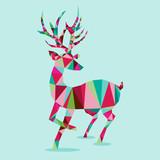 Modern Geometric Triangle Reindeer