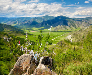 Holy stone on Altai mountain pass Chike-Taman in Russia