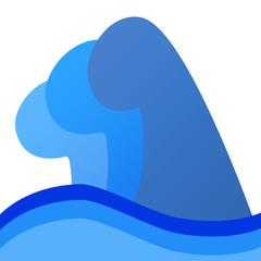 大波のイラスト 左向き