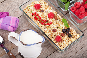 Healthy breakfast with muesli, milk and berries