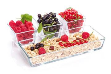 Healthy breakfast with muesli and berries