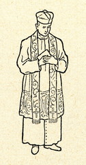 Catholic priest wearing rochet and stole