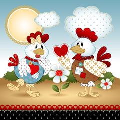 Casal o galo e a galinha pat