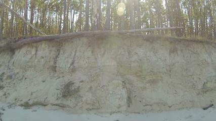Sandy steep coast. Aerial  lateral flight