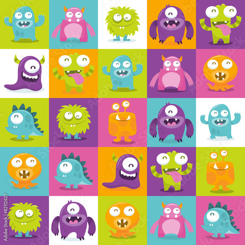 Happy Silly Cute Monsters Tiles Pattern Background