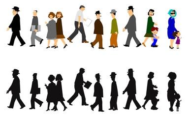 people walking in 2 styles