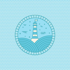 Vector lighthouse logo design template in trendy linear style