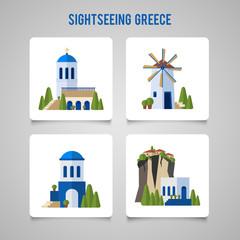 Greece Landmarks traditional architecture flat icons set