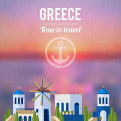 Greece Landmarks with sunset travel banner design
