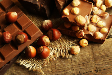 Still life with set of chocolate with nuts