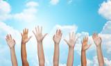 people waving hands