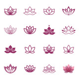 Lotus symbol icons. Vector floral labels for Wellness industry poster