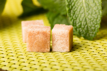 Cane sugar and fresh mint