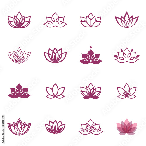 Lotus symbol icons. Vector floral labels for Wellness industry