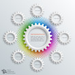 Infographics Vector Background #White Gears 8-Step