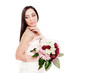 Bride is posing with bouquet over white isolated background