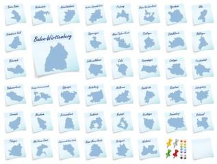 Collage von Baden-Wuerttemberg mit Landkreisen als Notizzettel i