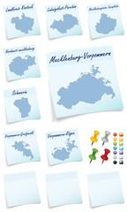Collage von  Mecklenburg-Vorpommern mit Landkreisen als Notizzet