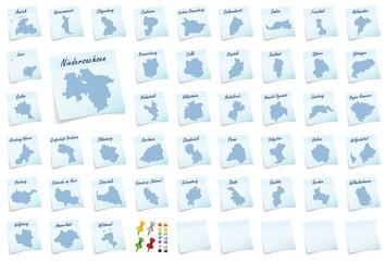 Collage von  Niedersachsen mit Landkreisen als Notizzettel in Bl