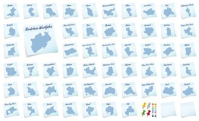 Collage von Nordrhein-Westfalen mit Landkreisen als Notizzettel