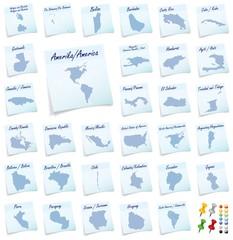Collage von Amerika als Notizzettel in Blau