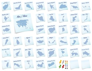 Collage von Asien als Notizzettel in Blau