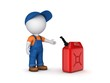 Colorful gasoline jerrycan and 3d small person. - 82115068