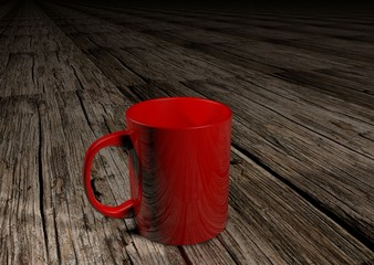 Red coffee on old wood