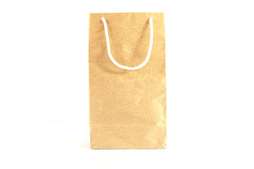 Blank brown paper bag on white background