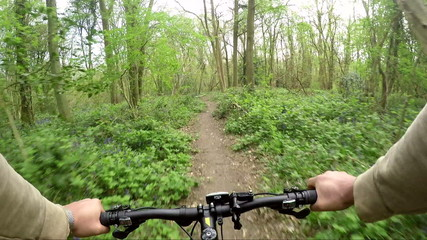 Cyclist riding through a narrow path in the woods