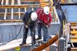 Leinwanddruck Bild - Bauarbeiter auf Baustelle