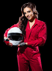 Young girl racer with helmet